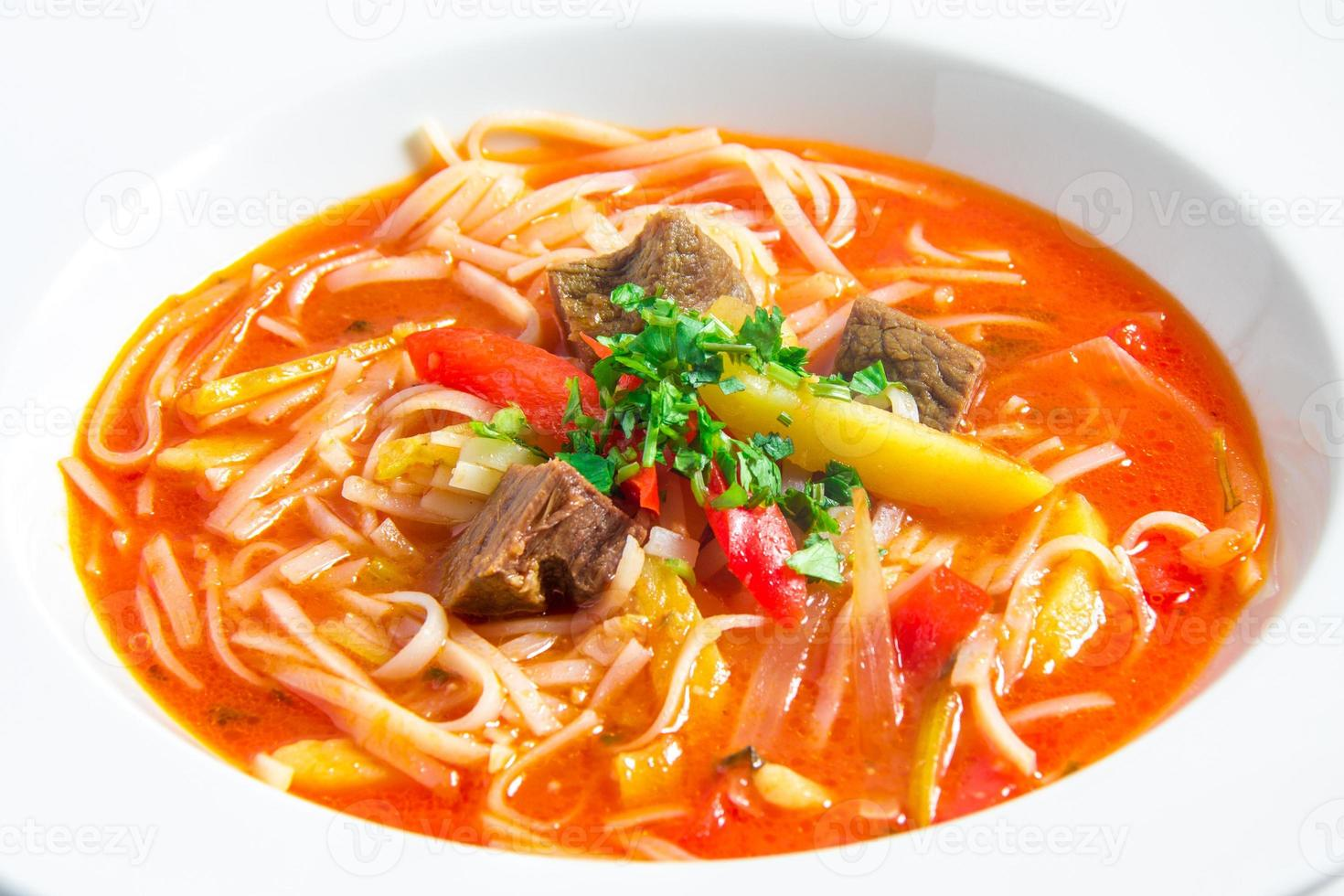 red rice noodle soup photo