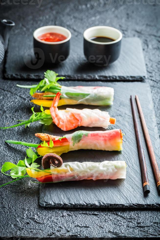 Fresh spring rolls wrapped in rice paper photo
