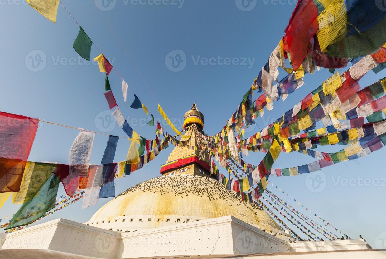 Bodhnath Stupa with Prayer Flags, Kathmandu, Nepal photo