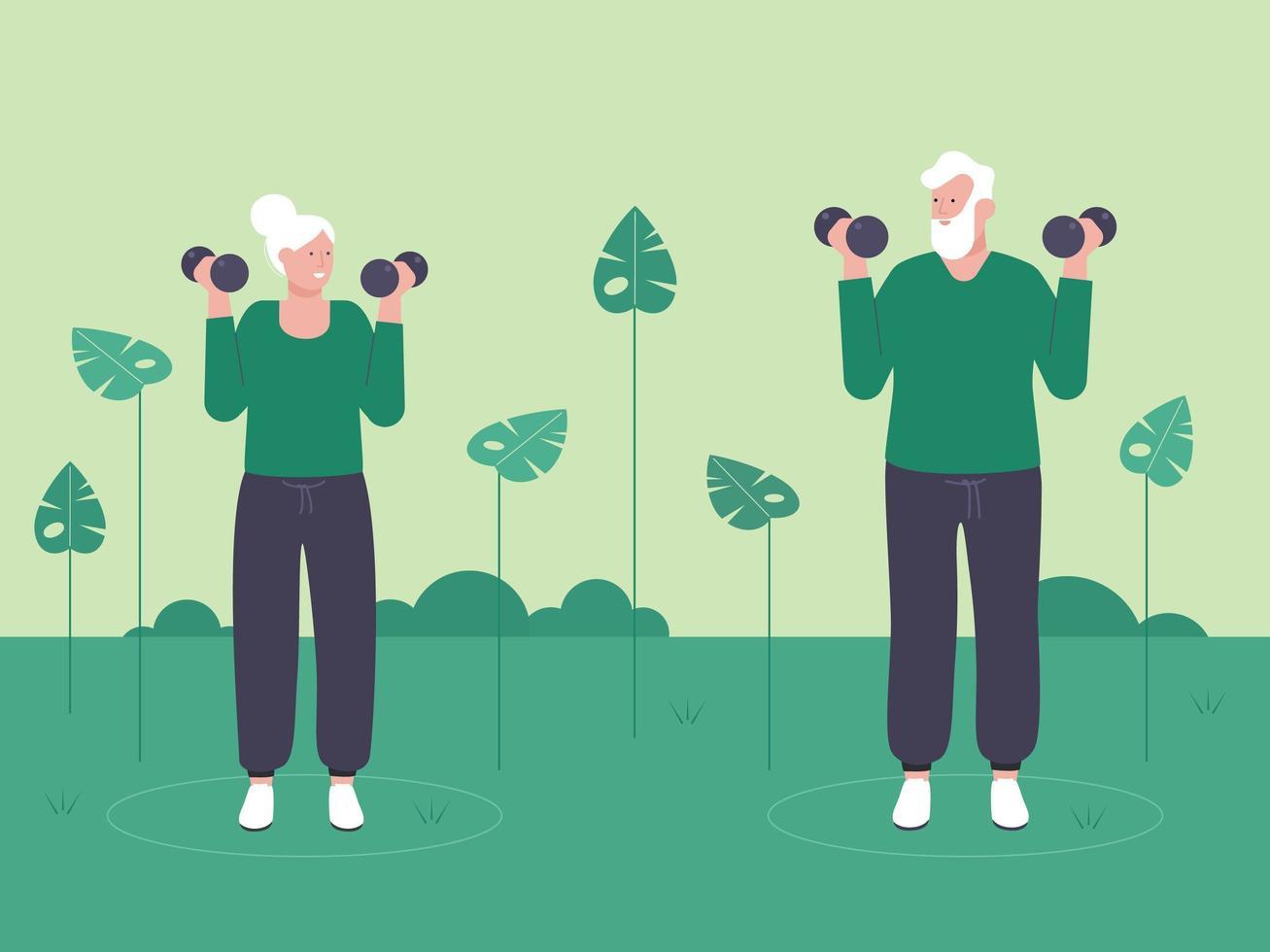 coppia di anziani sollevamento pesi nel parco vettore