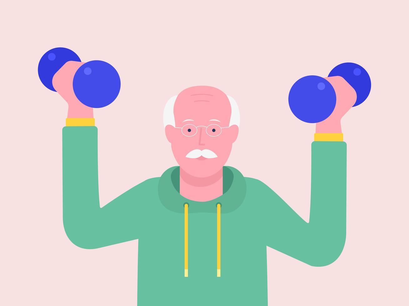 homme âgé soulève des haltères vecteur