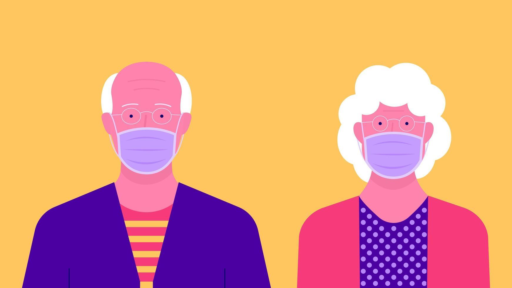 portrait, de, couples aînés, porter, masque médical vecteur