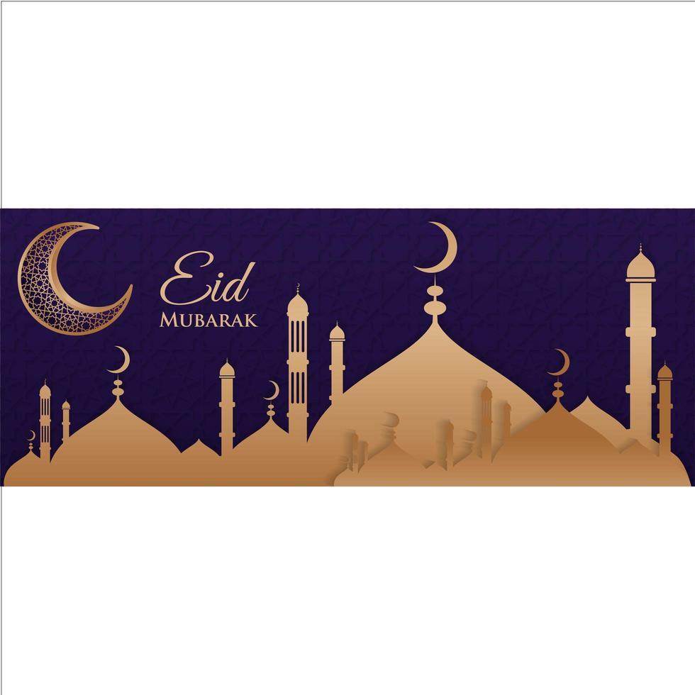 bannière eid mubarak avec croissant vecteur