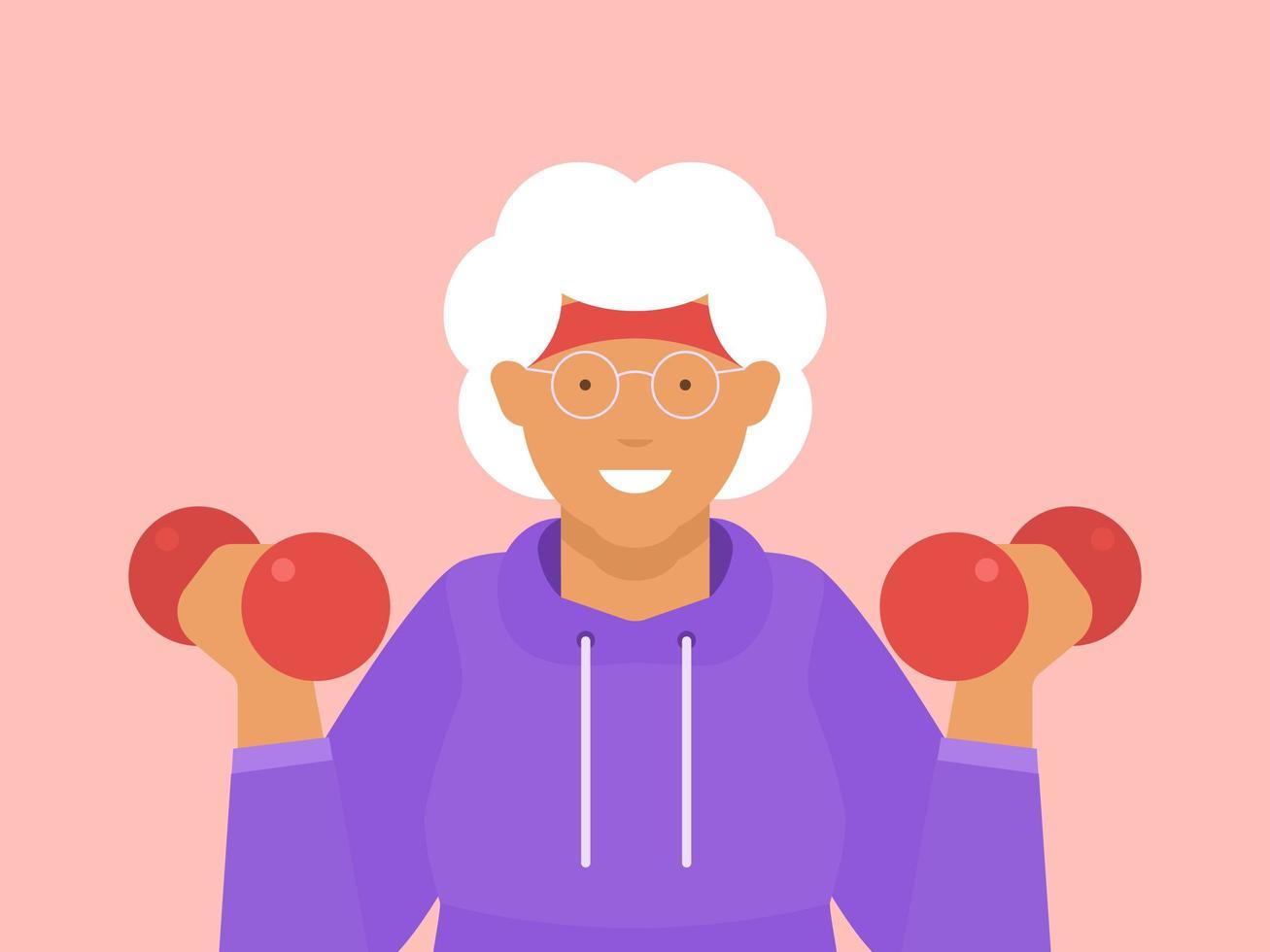 femme fitness senior formation avec haltères vecteur
