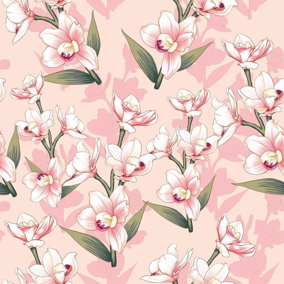 fleurs d'orchidées roses vecteur