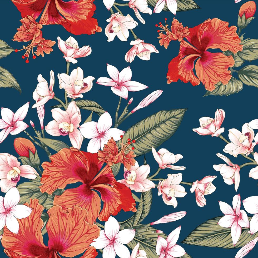 fleurs de frangipanier rose fond bleu. vecteur