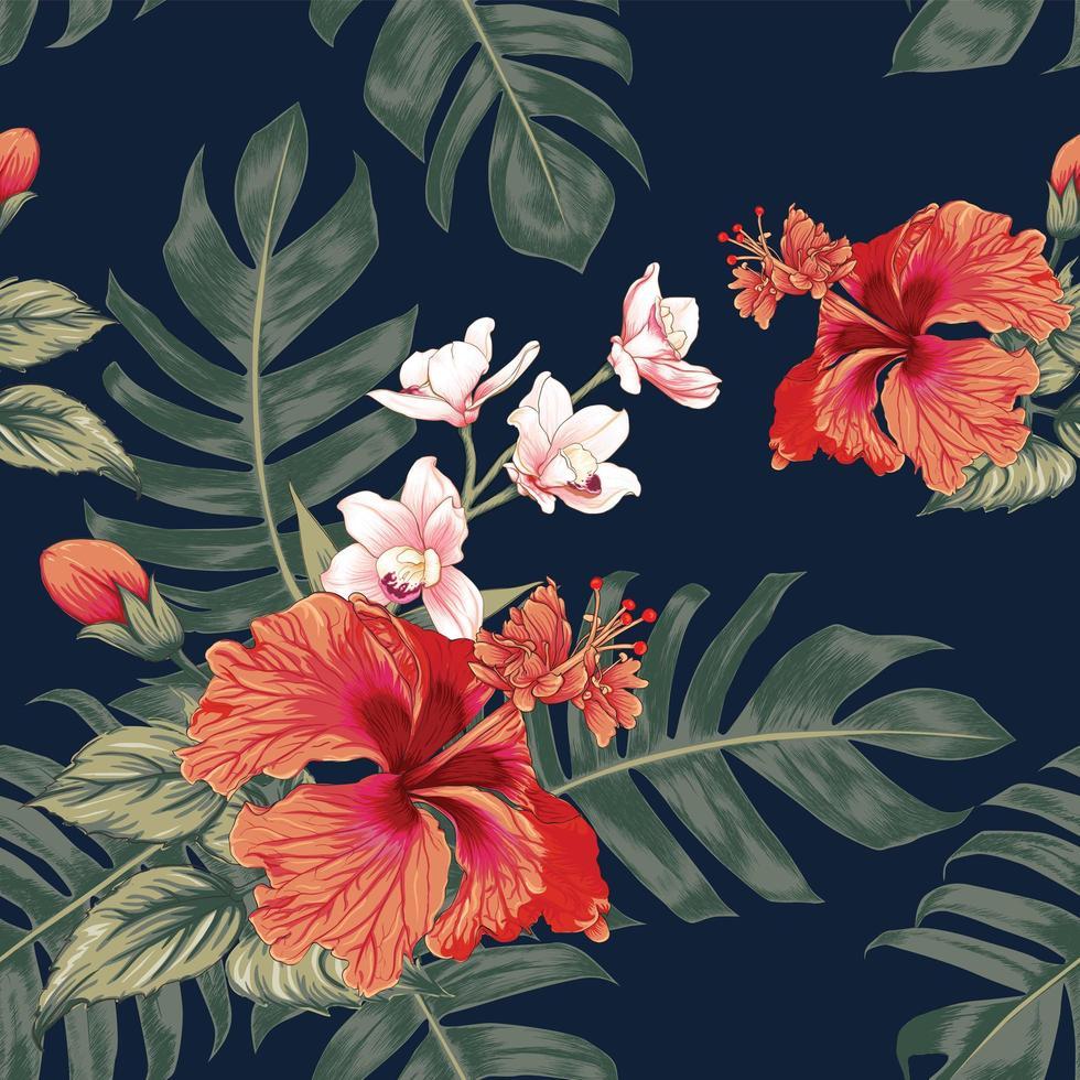 fiori di orchidea rosa pastello vettore