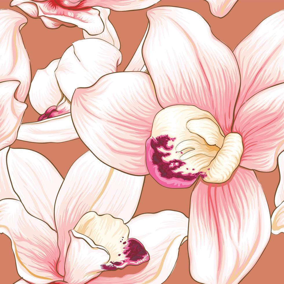 fleurs d'orchidées sur fond pastel isolé. vecteur