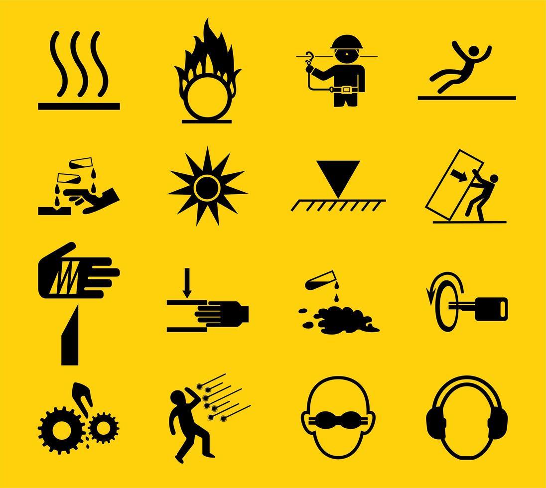 panneaux d'avertissement, icône des risques industriels vecteur