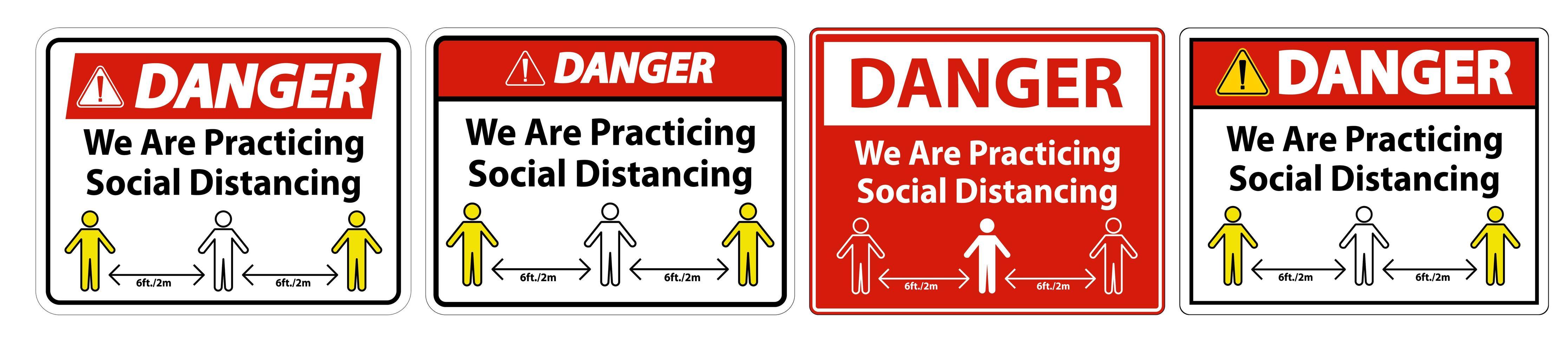 pericolo stiamo praticando il segno di allontanamento sociale vettore