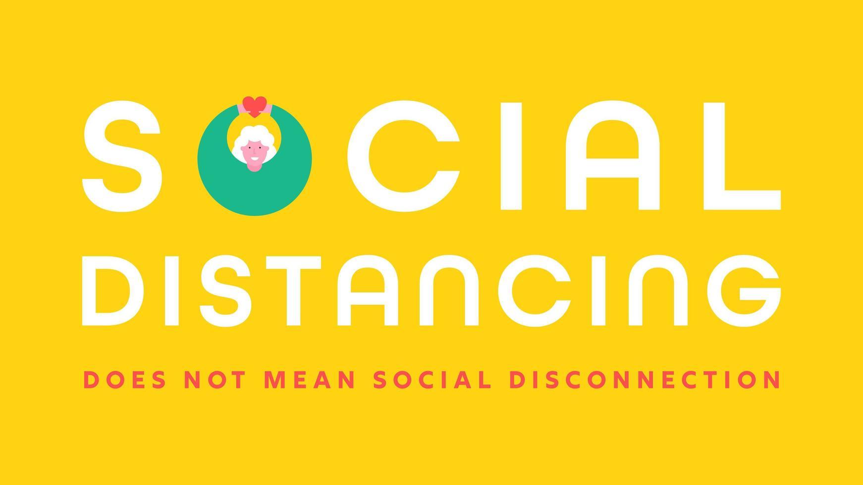 bandiera di tipografia di parola di distanza sociale vettore