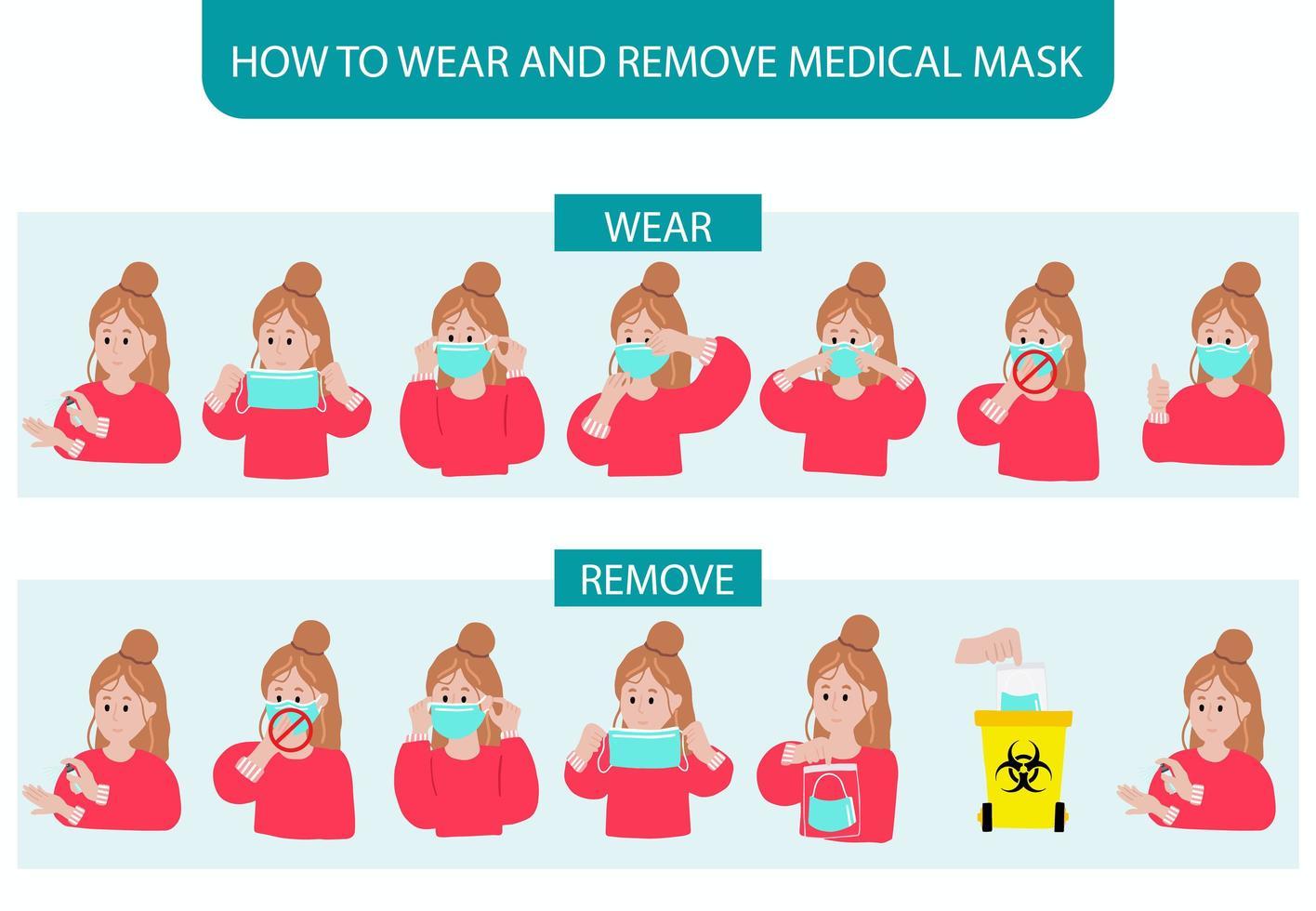 comment porter et enlever le masque étape par étape avec une femme démontrant vecteur