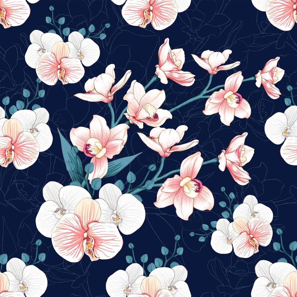fleurs d'orchidées sur fond bleu foncé abstrait. vecteur
