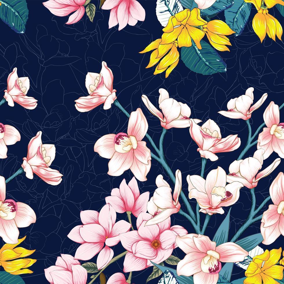 motif de fleurs jaune et rose vecteur