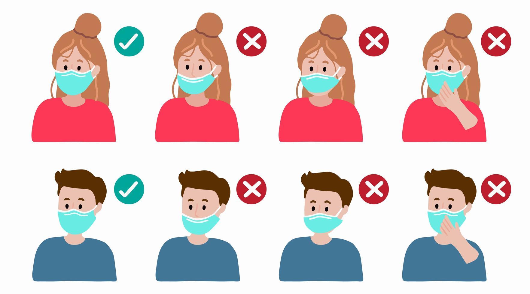 come indossare correttamente il poster delle istruzioni per la maschera facciale vettore