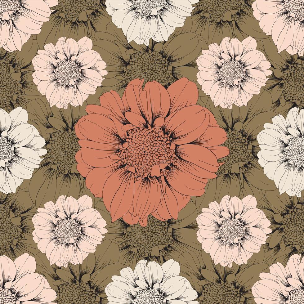 fleurs de zinnia vintage vecteur