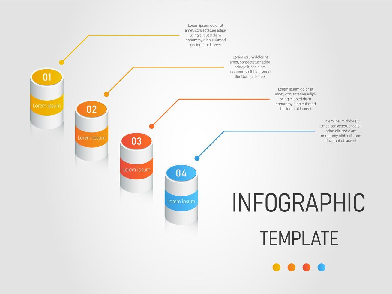 Modèle infographique 3D avec 4 étapes de cylindre vecteur