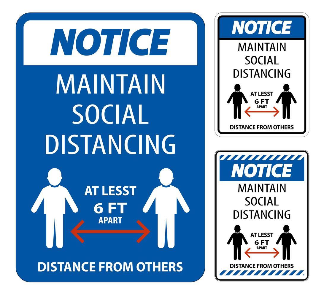 maintenir le signe bleu de distanciation sociale vecteur