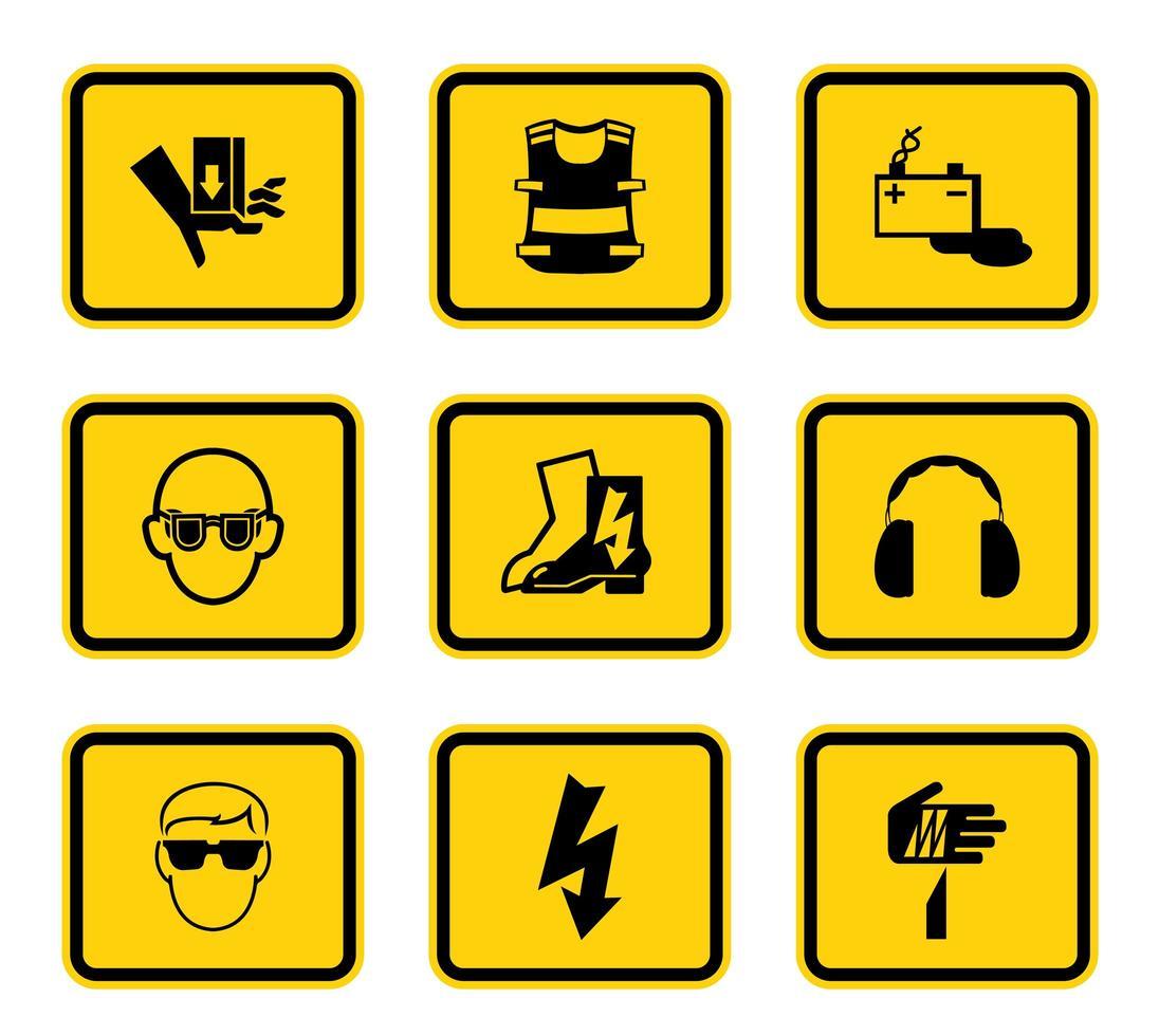 simboli di pericolo gialli vettore