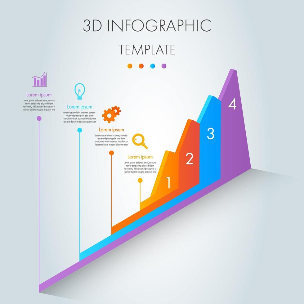 infografica grafico isometrico 3d colorato vettore