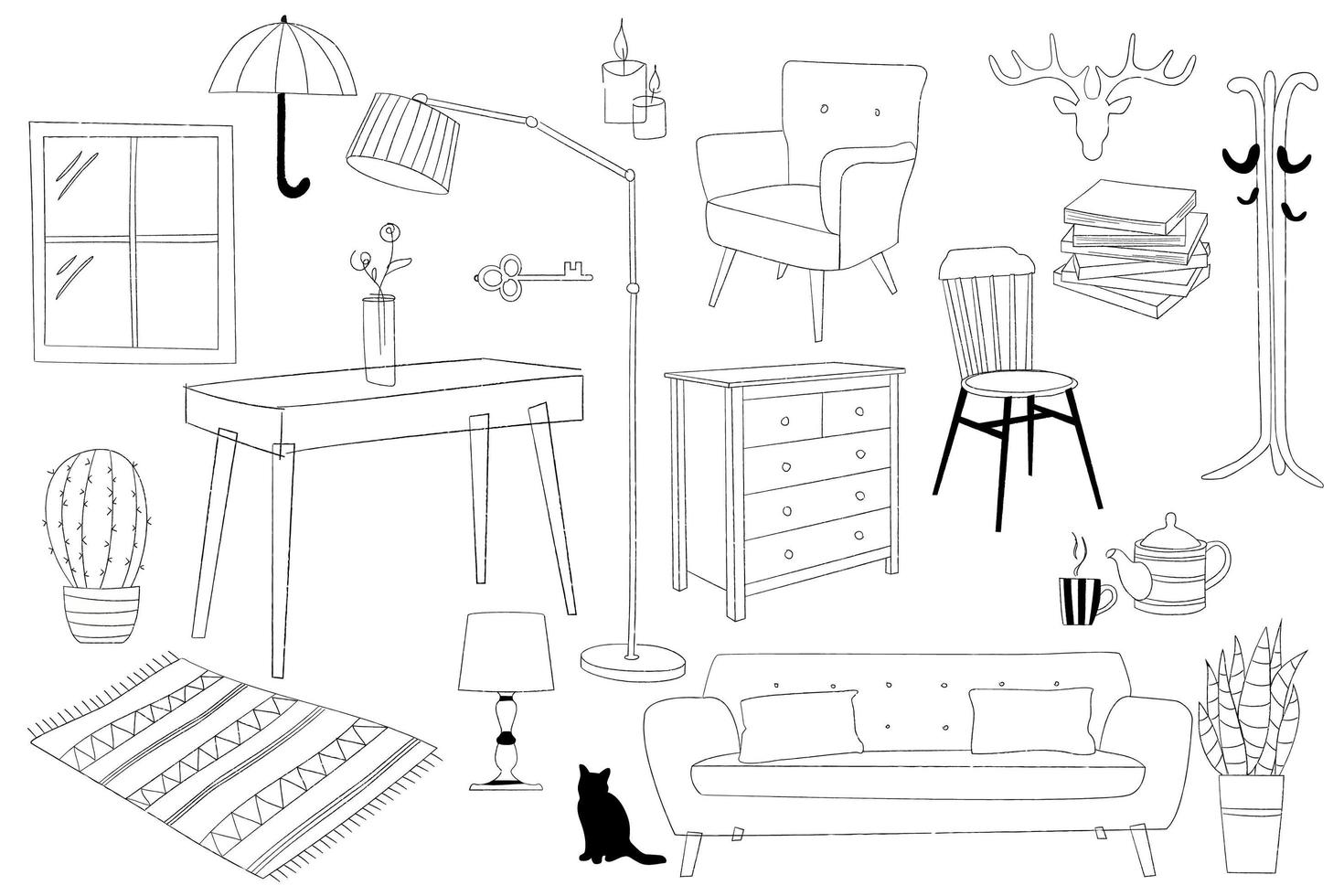 collezione di mobili per la casa contorno stilizzato vettore