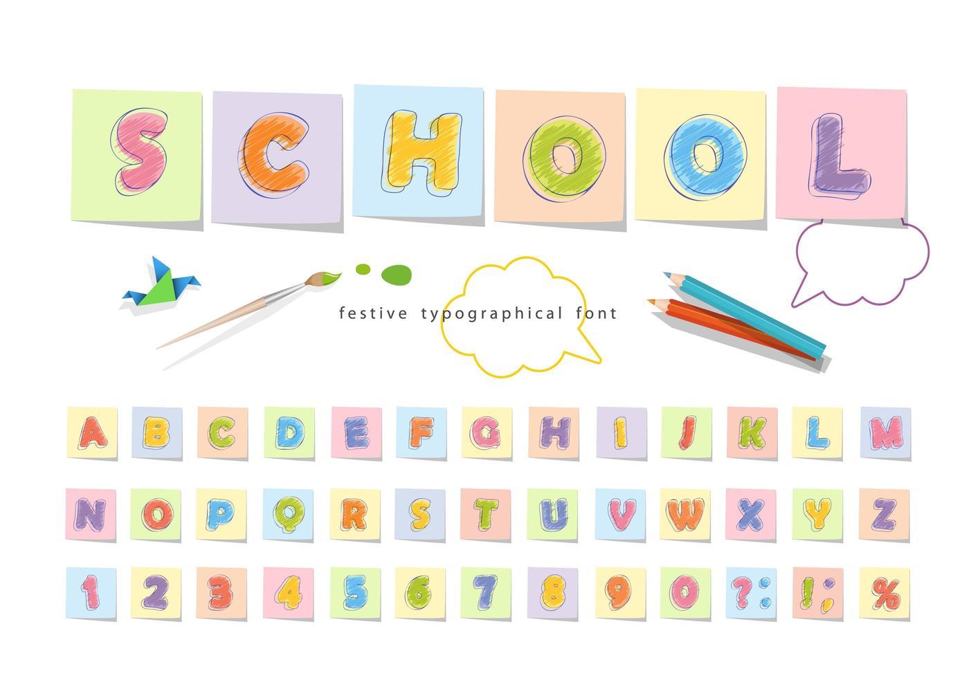 matita pastello font per bambini vettore