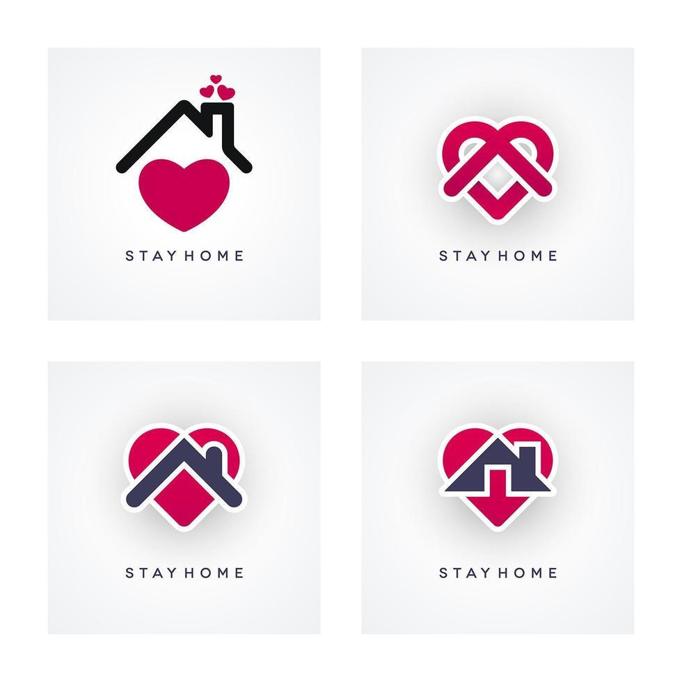 icône de rester à la maison sertie de formes abstraites vecteur