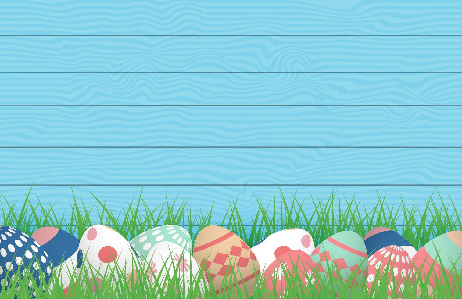affiche de Pâques avec des oeufs dans l'herbe contre le bois vecteur
