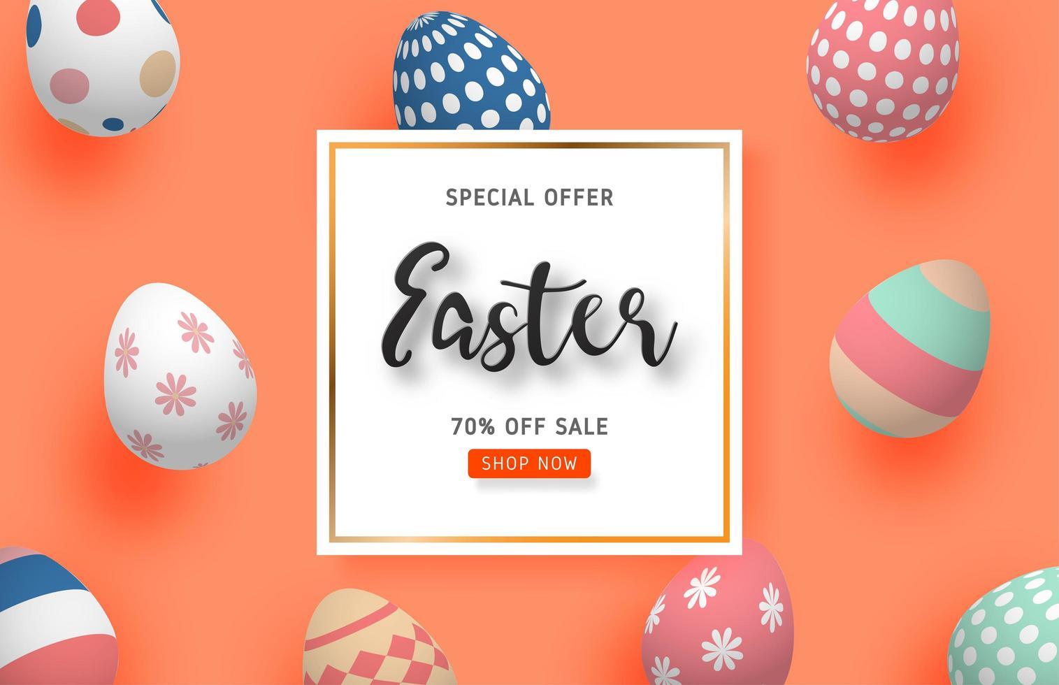 affiche de vente de Pâques avec des oeufs colorés sur orange vecteur