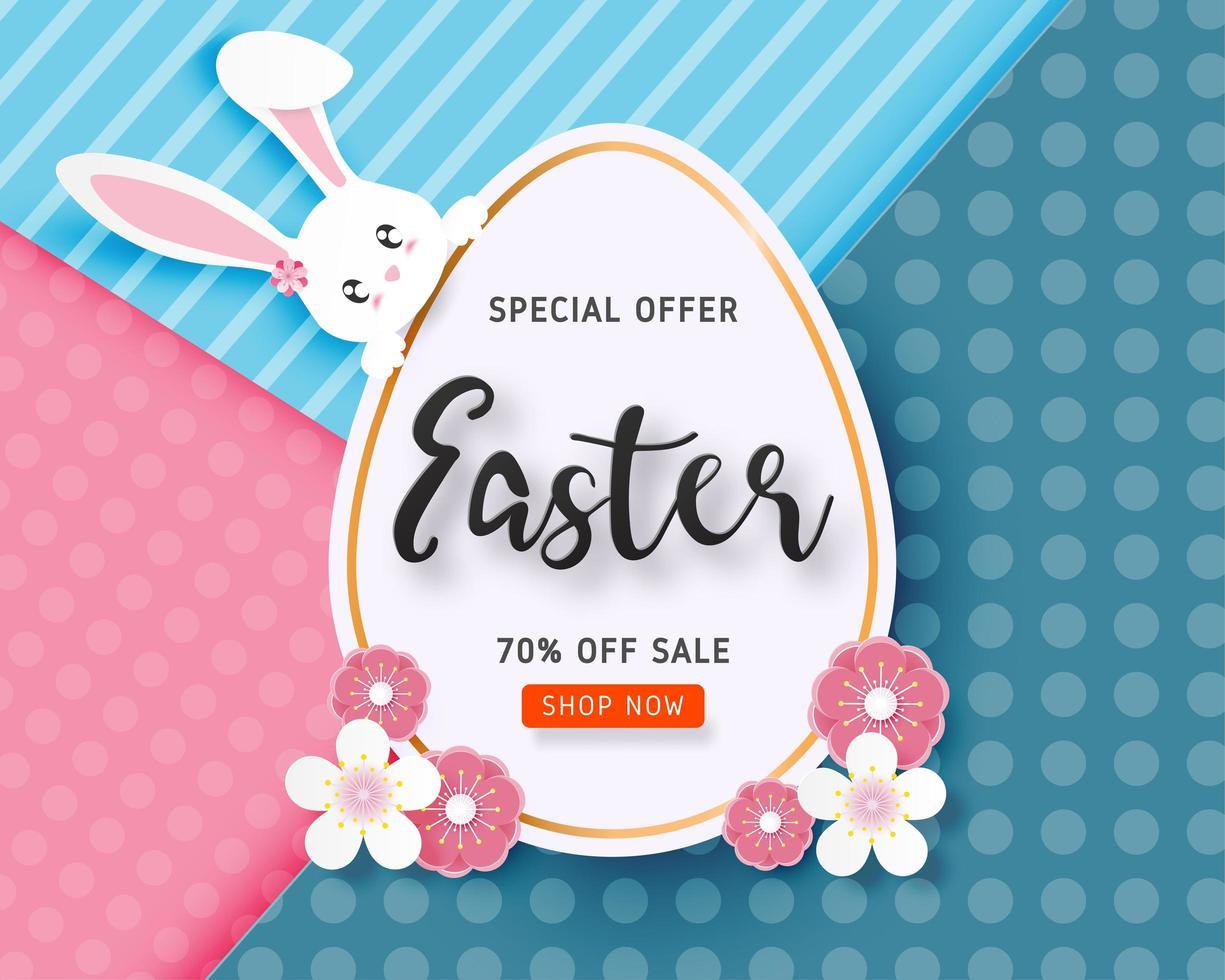 arte della carta bandiera di vendita di Pasqua con coniglietto sul grande uovo vettore