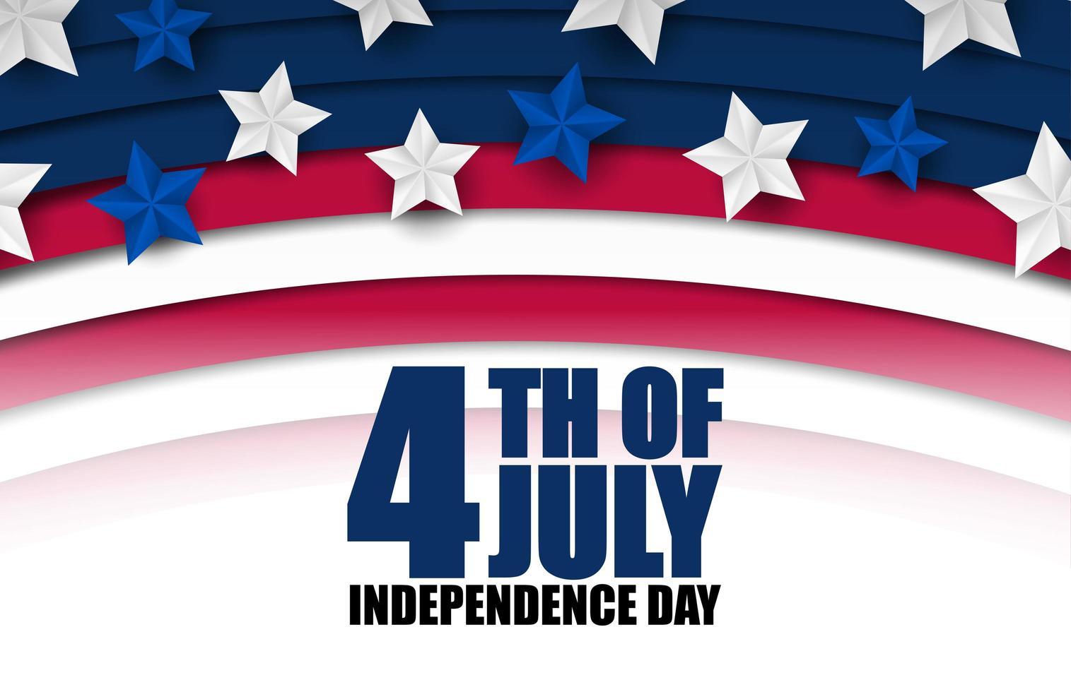 Banner del 4 luglio con strisce curve e stelle vettore