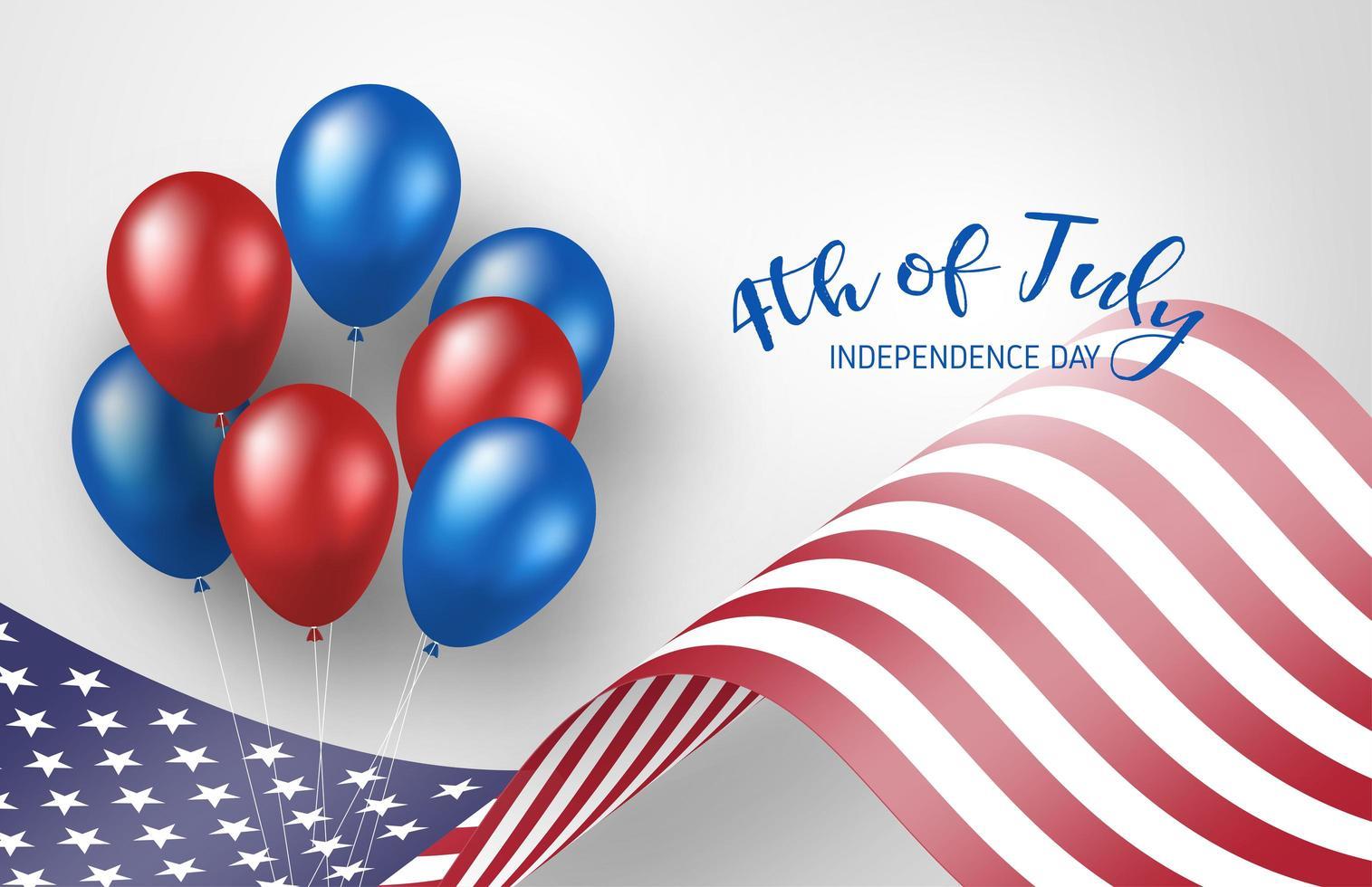 4 juillet affiche avec agitant le drapeau américain et des ballons vecteur