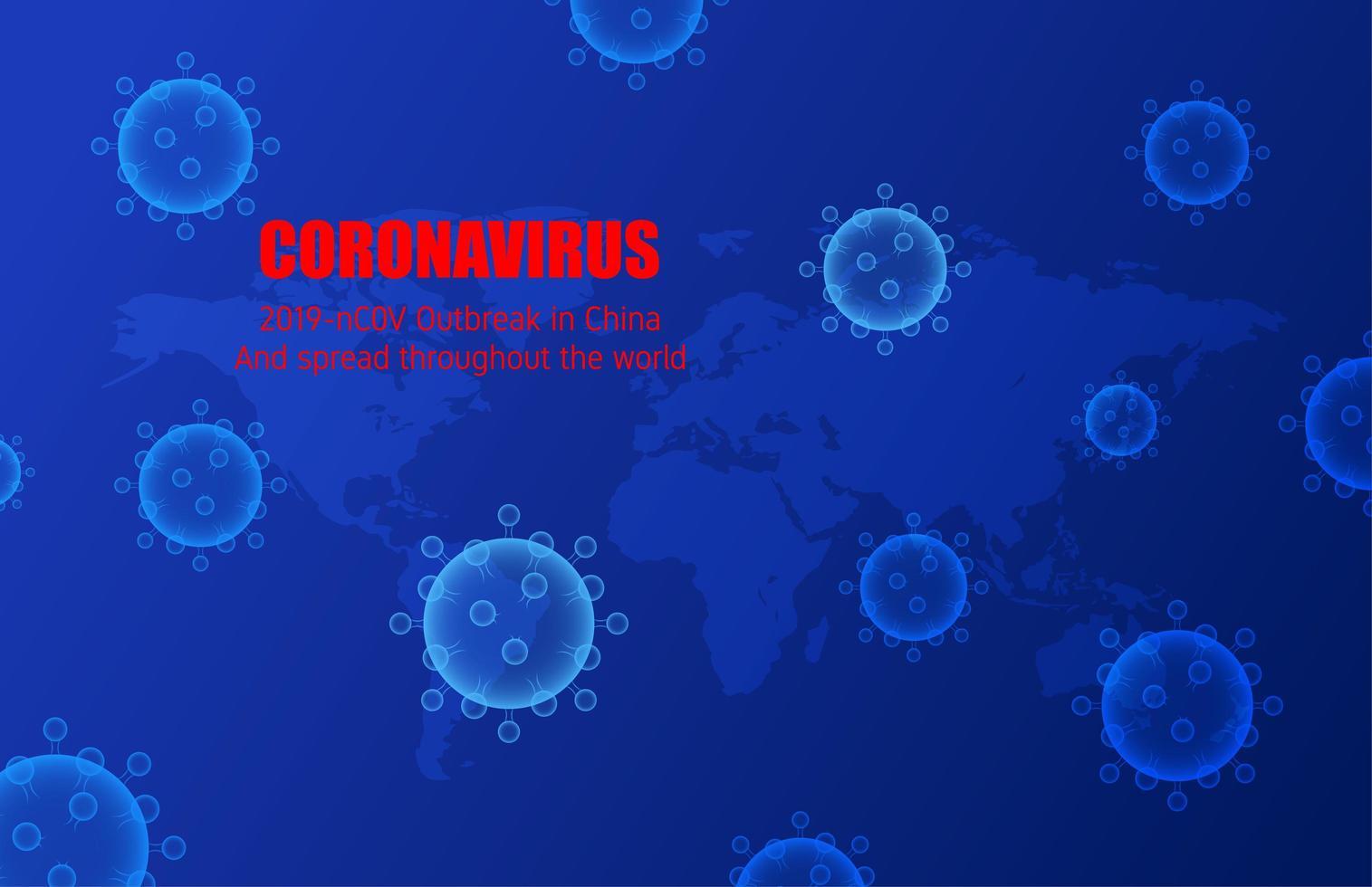 cellule blu di coronavirus e progettazione della mappa del mondo vettore