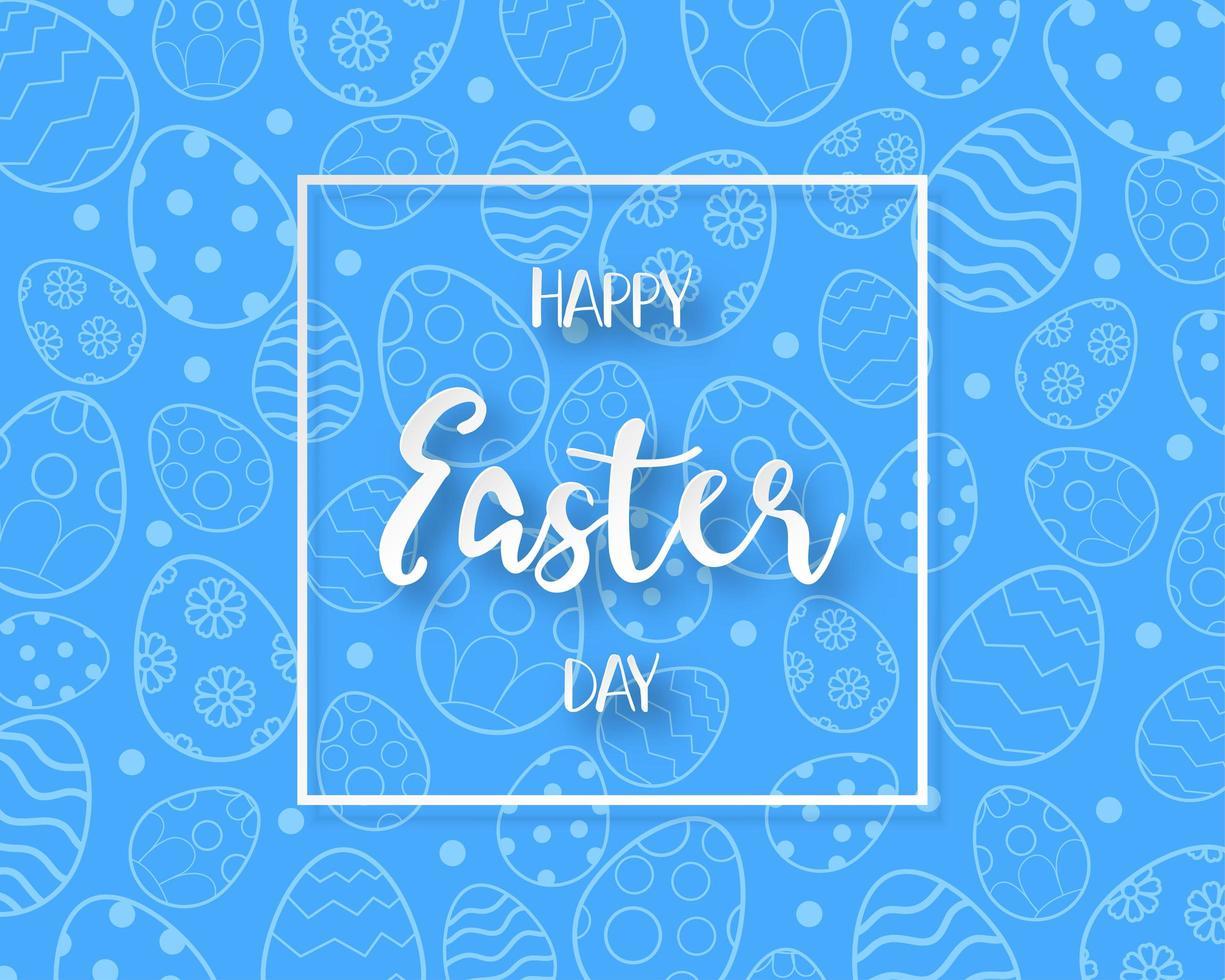 telaio di felice giorno di Pasqua e modello uovo blu vettore