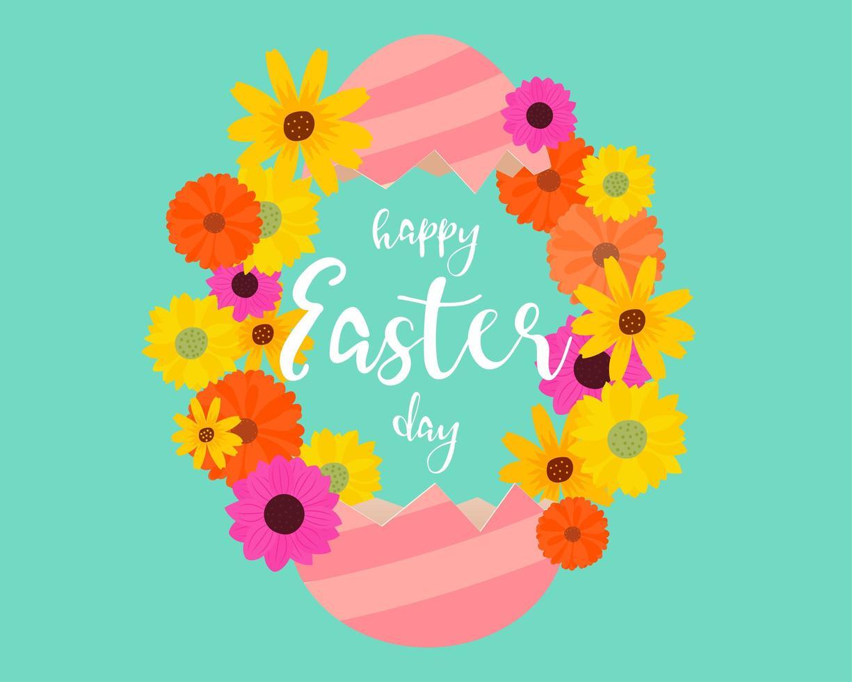 arte della carta incrinata cornice di fiori di uovo di Pasqua vettore