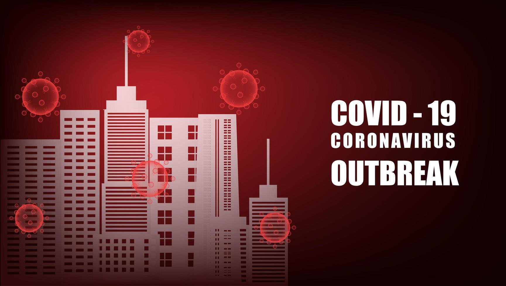 città circondata da cellule rosse di coronavirus sul gradiente rosso vettore