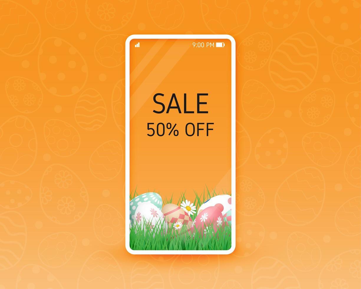 shopping online design con uova di Pasqua sullo schermo del telefono vettore