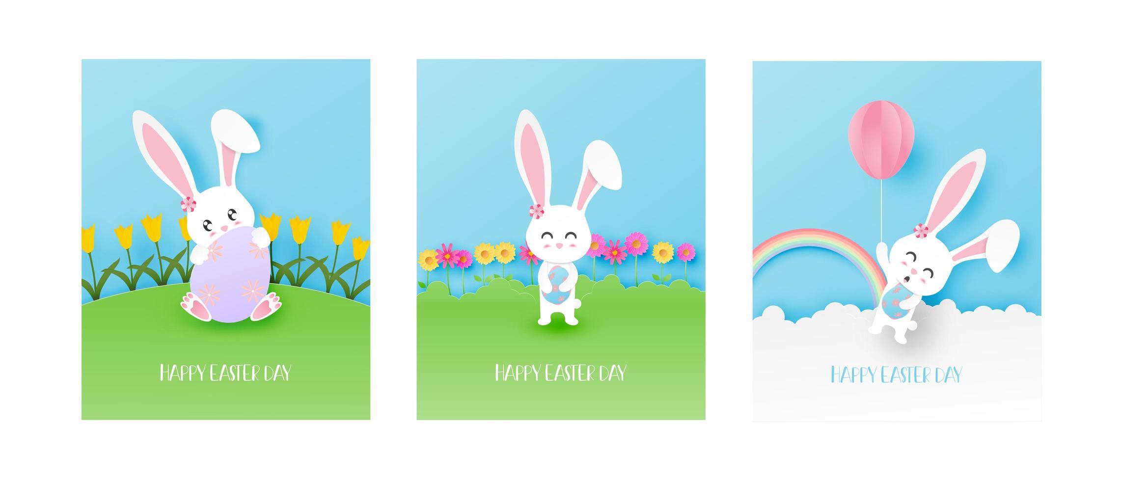 cartes de pâques art papier avec lapin faisant différentes activités vecteur
