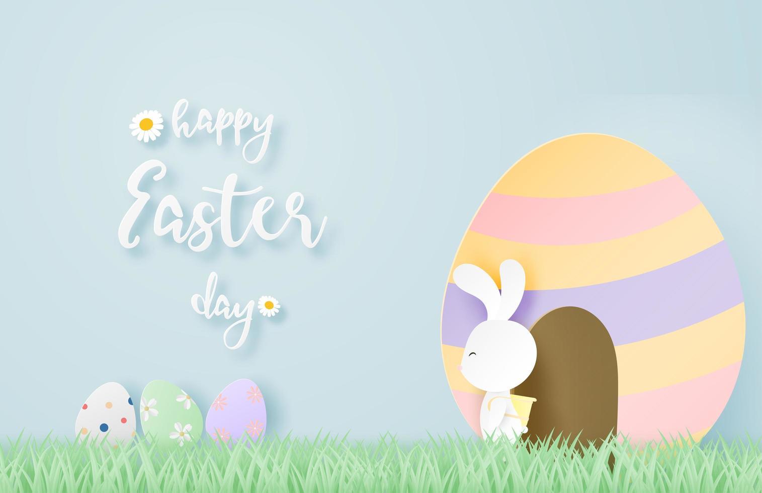 paper art design pasquale con coniglio in uscita dall'uovo vettore