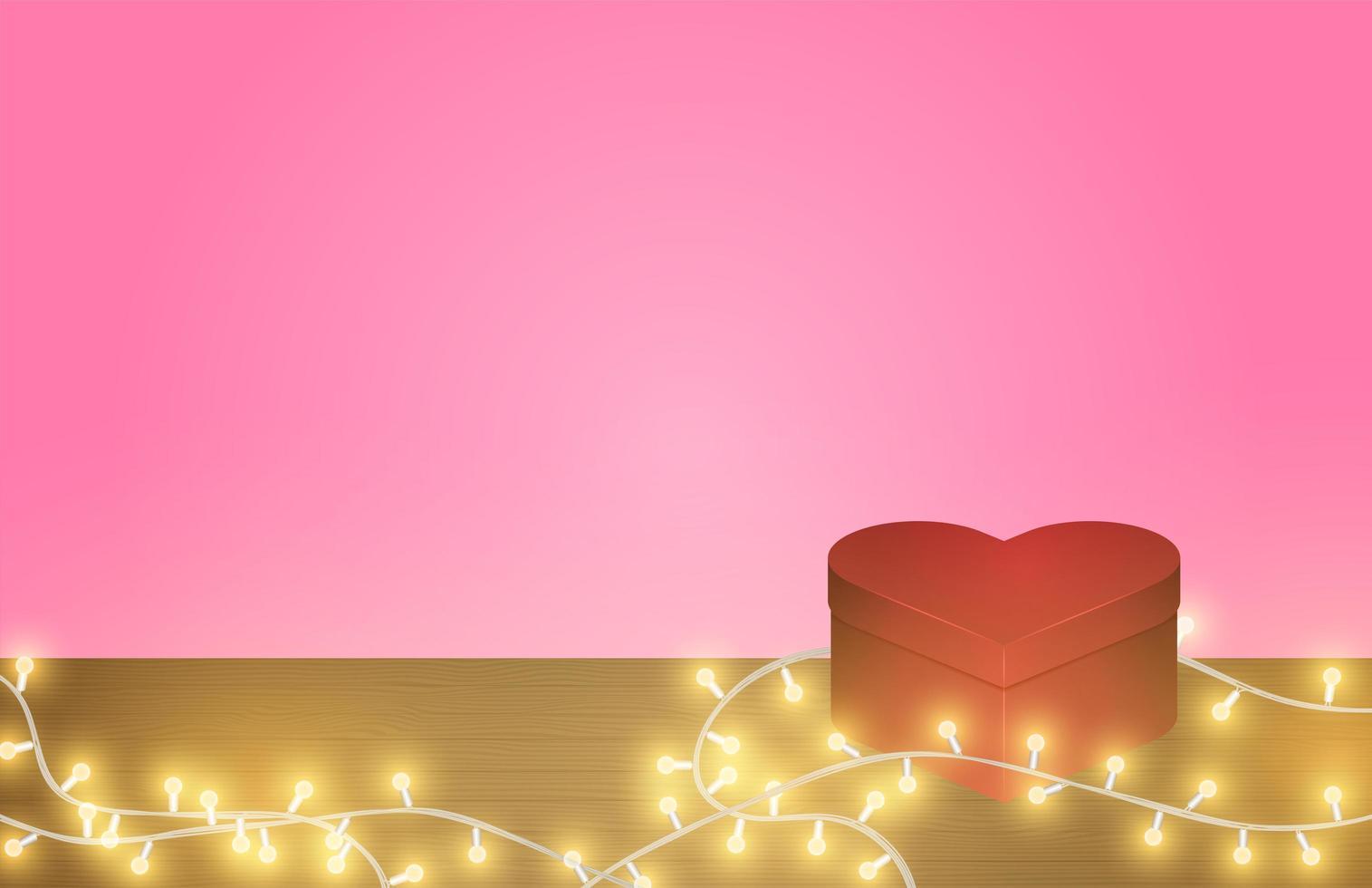 Boîte en forme de coeur et lumières rougeoyantes sur table en bois vecteur