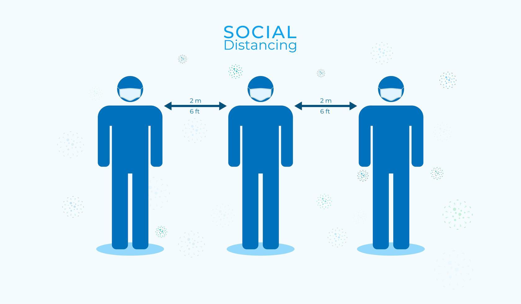cartel de distanciamiento social con hombres con máscaras vector
