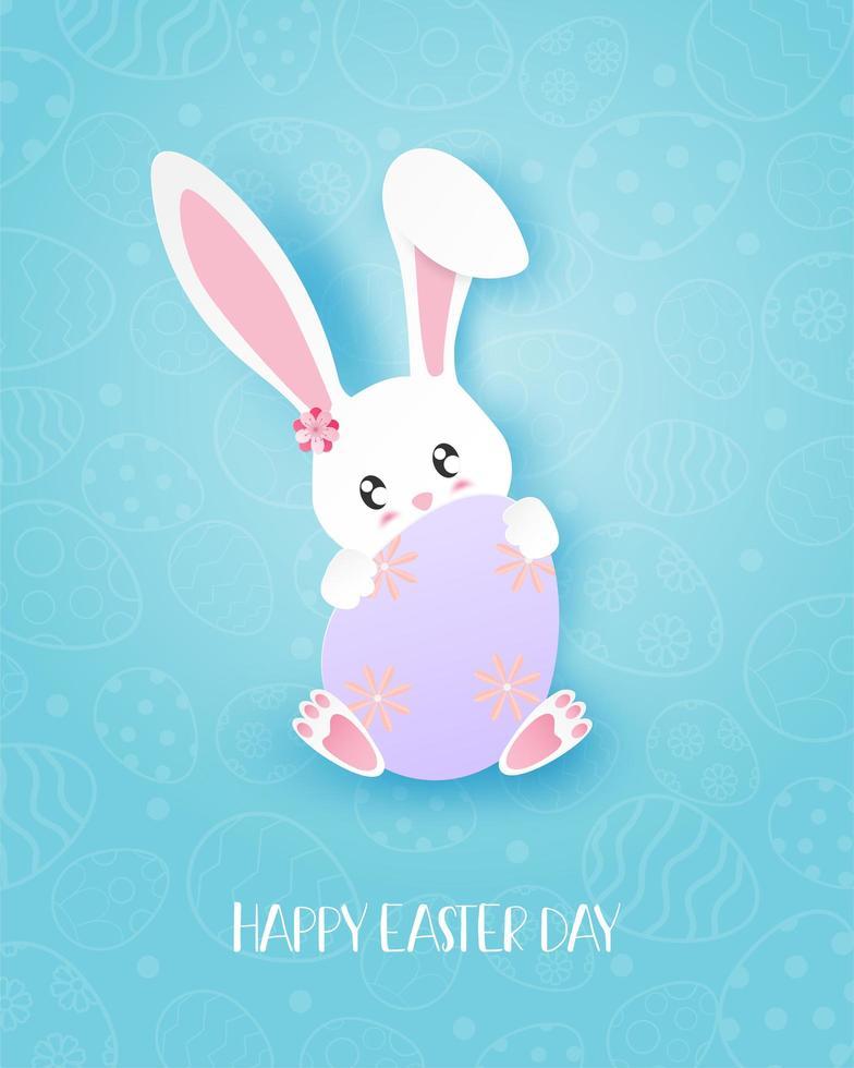 paper art design pasquale con coniglietto che abbraccia l'uovo vettore