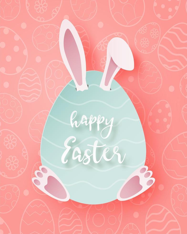 arte di carta poster di Pasqua con coniglietto nascosto nell'uovo vettore