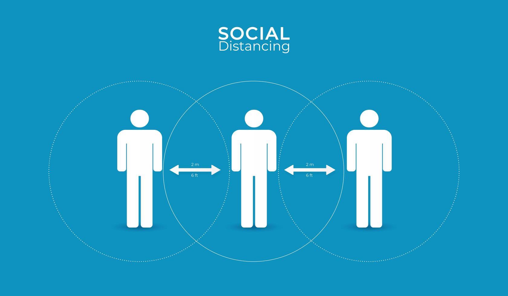 distanciamiento social diseño de cartel simple vector