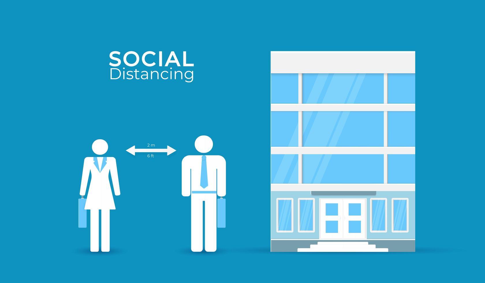 distanciamiento social en póster de oficina vector