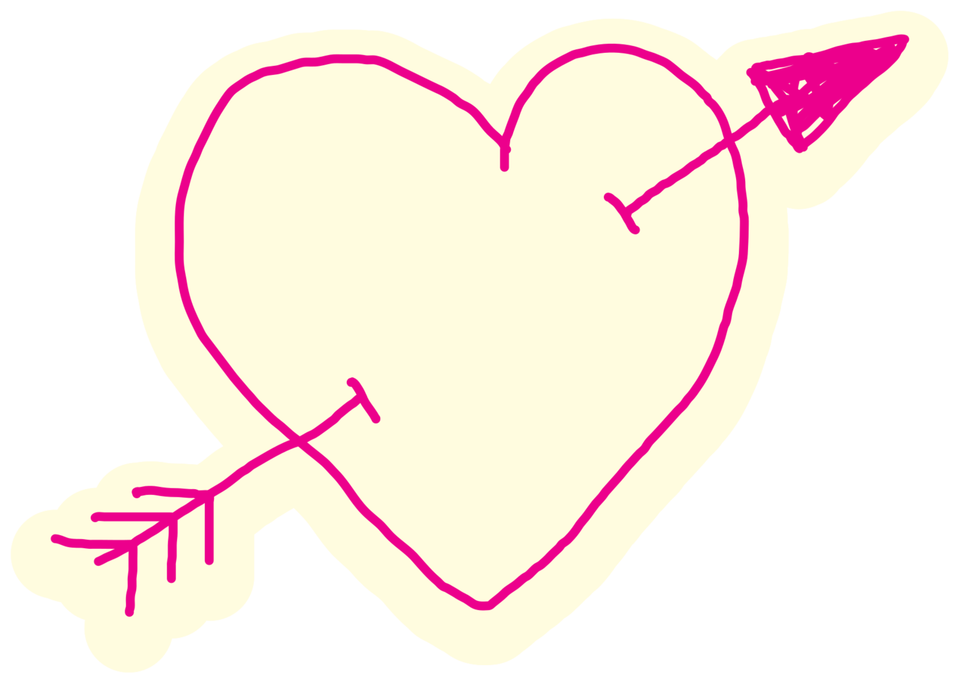Heart hand drawn arrow png