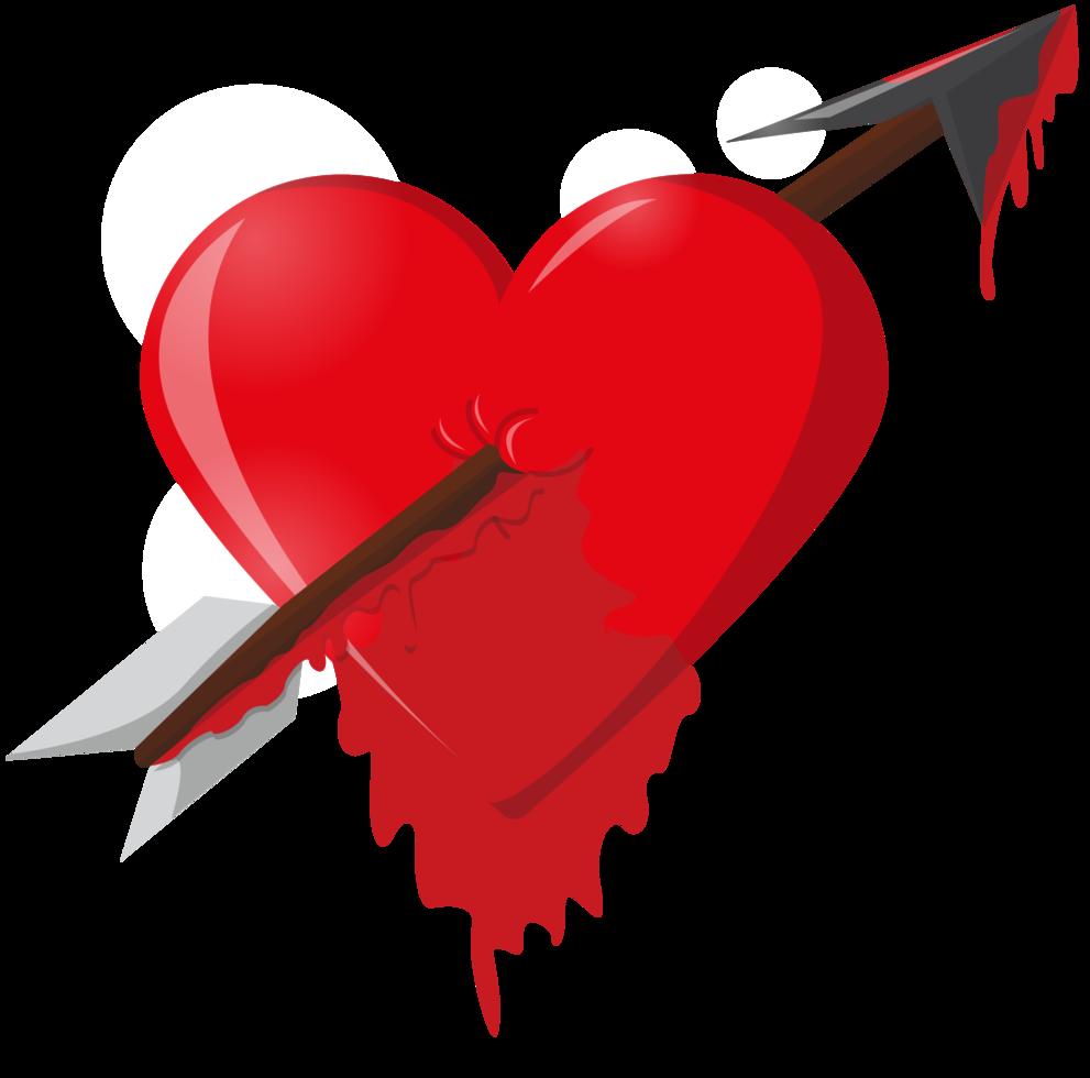 freccia del cuore che cola sangue png