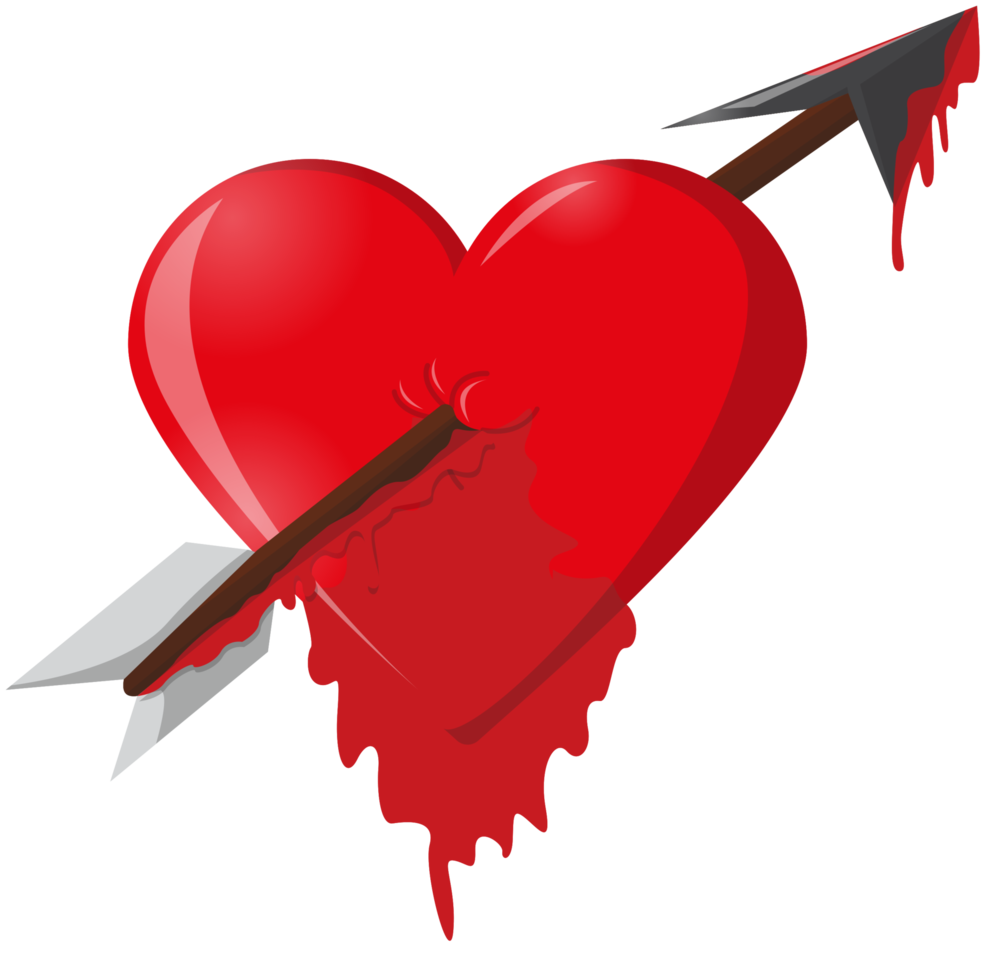flecha del corazón goteando sangre png