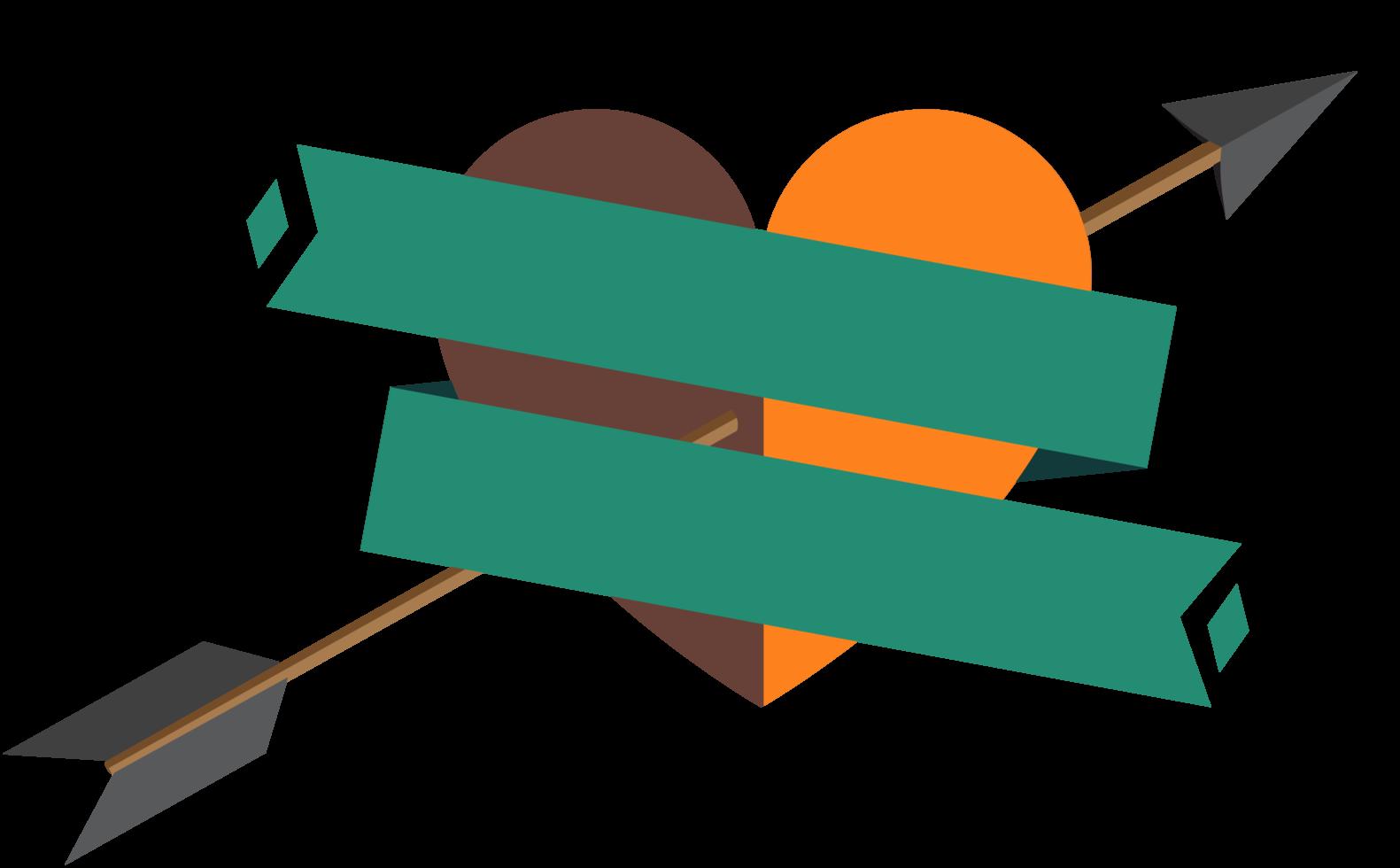 coração com banner e flecha png