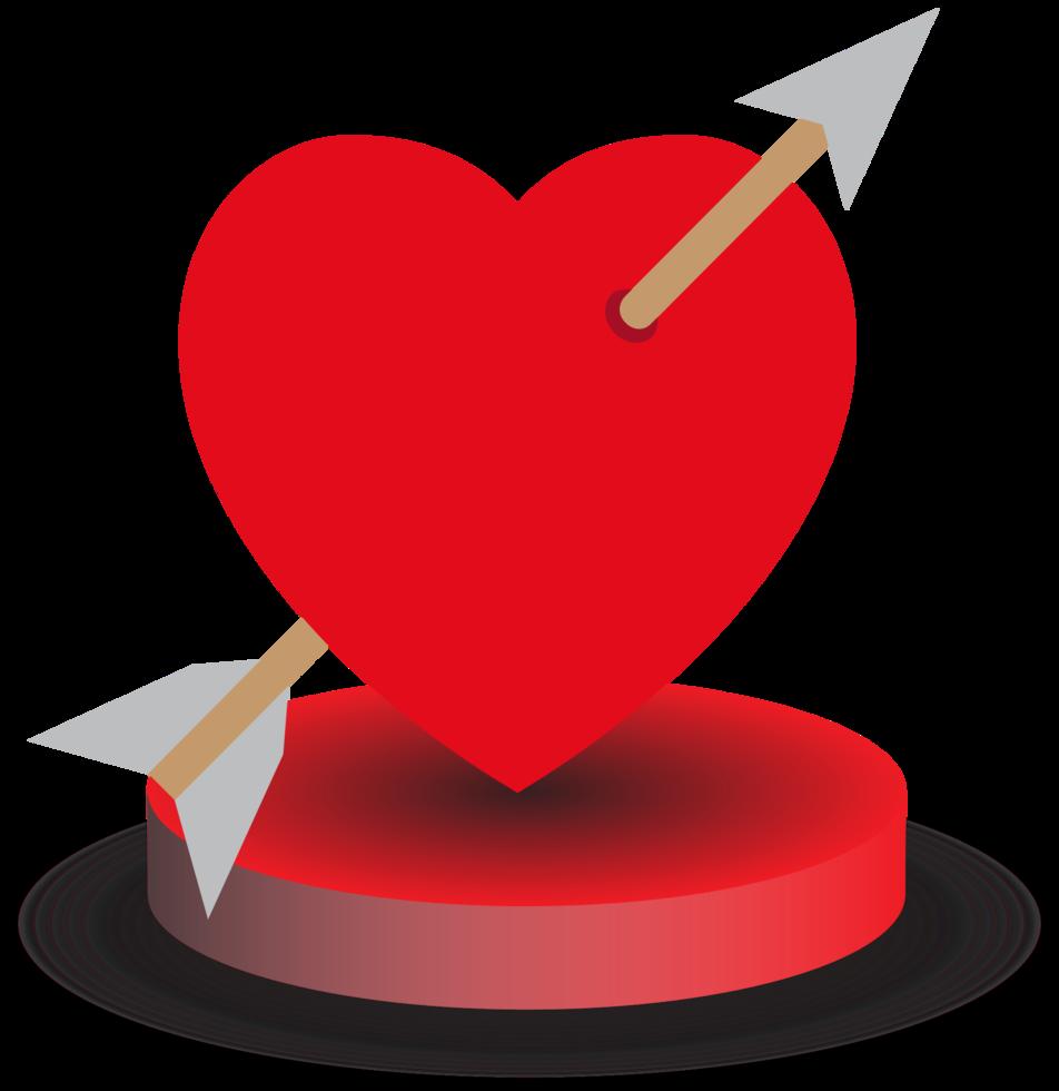 cuore con freccia nel disco rotondo png